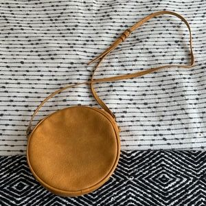 Antik Kraft Leather Round Crossbody Bag ( faux )